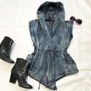 Seductions by Sirens hooded denim wrapover vest